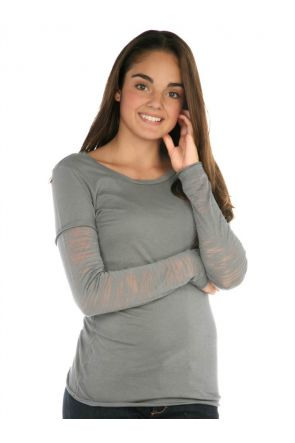 Girls 7-16 Sheer Jersey Raw Edge Twisted Round Neck Two-Fer Burnout Long Sleeve