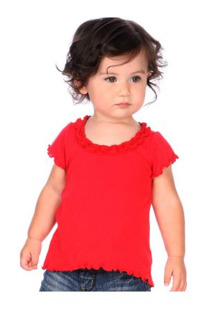 Infants Lettuce Edge Ruffles High Low Short Sleeve Top
