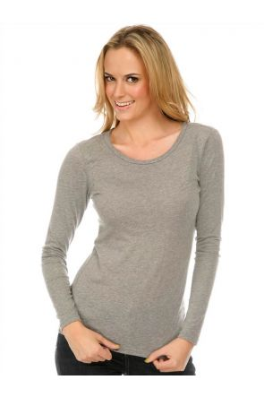Junior Sheer Jersey Crew Neck Long Sleeve