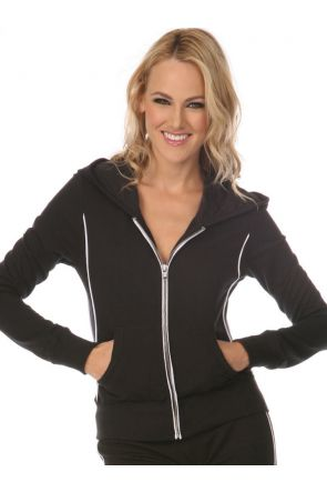 Junior Piping Long Sleeve Zip Hoodie