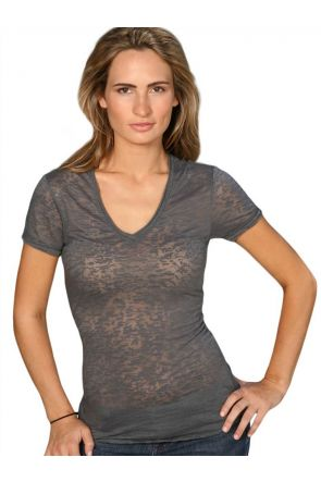 Women Burnout Raw Edge V Neck Short Sleeve