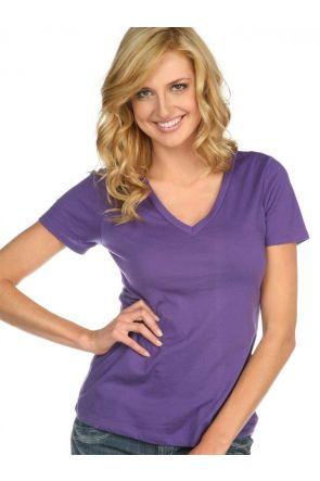 Women Sheer Jersey Deep V Neck Short Sleeve