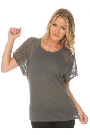 Women Sheer Jersey Scoop Neck Contrast Raglan Dolman Short Sleeve Slcn Wsh