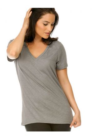Women Slub Jersey V Neck Short Sleeve