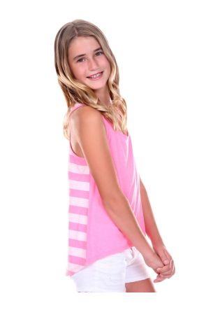 Girls 7-16 Striped Jersey Contrast Back High Low Tank