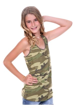 Girls 7-16 Camouflage Racer Back Tank