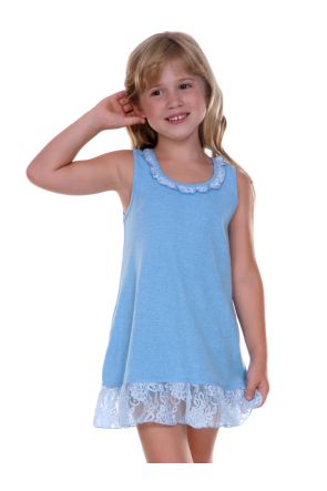 Girls 3-6X Lace Trim A-Line Tank Dress