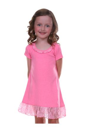 Girls 3-6X Lace Trim A-Line Short Sleeve Dress