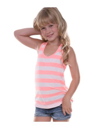 Girls 3-6X Striped Jersey Racer Back Tank