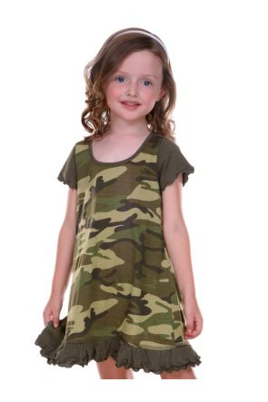Girls 3-6X Camouflage A-Line Short Sleeve Dress