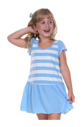 Girls 3-6X Striped Jersey Scoop Neck Flutter Sleeve Dress