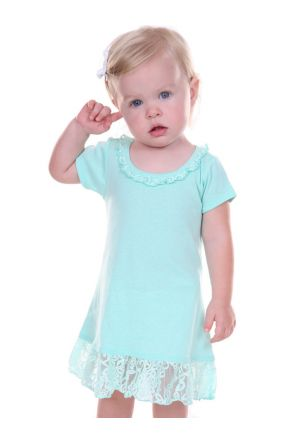 Infants Lace Trim A-Line Short Sleeve Dress