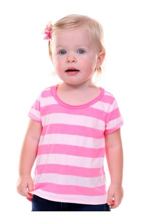 Infants Striped Jersey Scoop Neck High-Low Short Sleeve