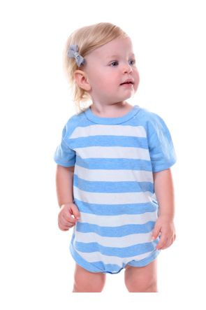 Infants Striped Jersey Crew Neck Raglan Short Sleeve Bodysuit