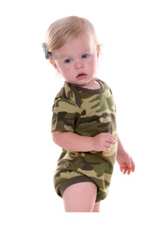 Infants Camouflage Lap Shoulder Short Sleeve Bodysuit
