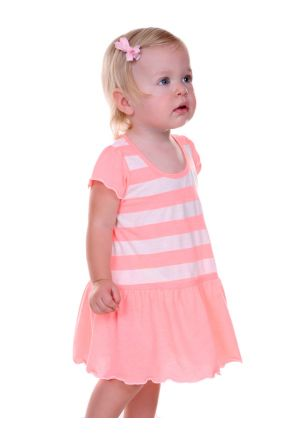 Infants Striped Jersey Scoop Neck Flutter Sleeve Dress