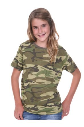 Youth Camouflage Crew Neck Short Sleeve Tee