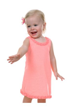 Infants Lettuce Edge Ruffles Sleeveless Dress