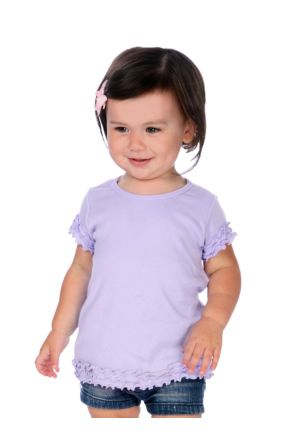 Infants Crew Neck Lettuce Edge Short Sleeve