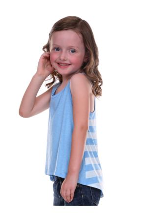 Girls 3-6X Striped Jersey Contrast Back High Low Tank