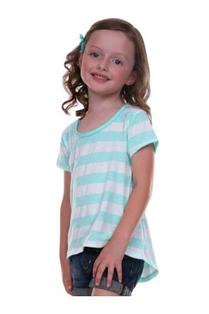 Girls 3-6X Striped Jersey Scoop Neck High-Low Short Sleeve