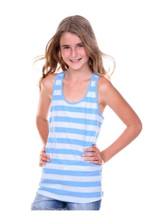 Girls 7-16 Striped Jersey Racer Back Tank