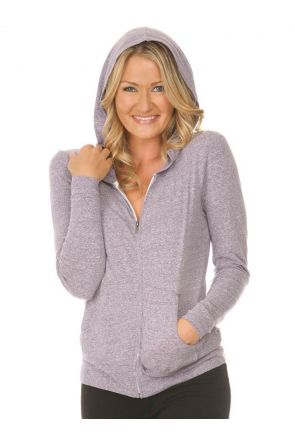 Women 2XL Snow Jersey Long Sleeve Zip Hoodie with Pouch, Silicon Wash