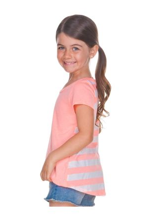Girls 3-6X Striped Jersey Contrast Back High Low Short Sleeve
