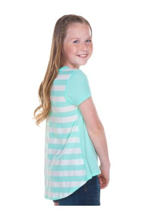 Girls 7-16 Striped Jersey Contrast Back High Low Short Sleeve