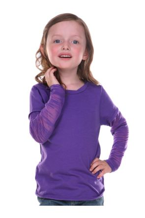 Girls 3-6X Raw Edge Two-Fer Burnout Long Sleeve