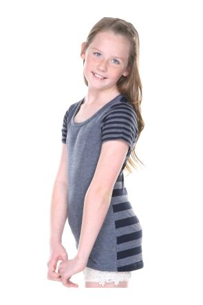 Girls 7-16 Striped Jersey Multi Contrast Short Sleeve
