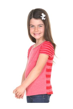 Girls 3-6X Striped Jersey Multi Contrast Short Sleeve