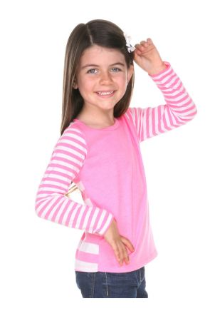 Girls 3-6X Striped Jersey Multi Contrast Long Sleeve