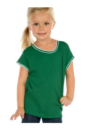 Girls 3-6X Contrast Rolling Raw Edge Short Sleeve