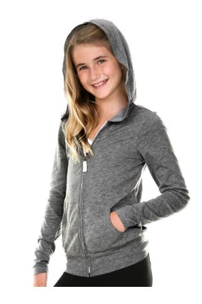 Girls 7-16 Jersey Long Sleeve Zip Up Hoodie