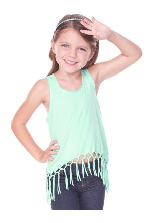 Little Girls 3-6X Sheer Jersey Scoop Neck Macrame Fringe Asymmetrical Tank