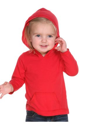 Infants Jersey RawEdge High Low Long Sleeve Hoodie w.Pouch