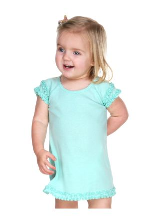 Infants Lettuce Edge Raglan Cap Sleeve Dress