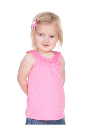 Infants Sheer Jersey V Neck Ruffle Yoke Tank