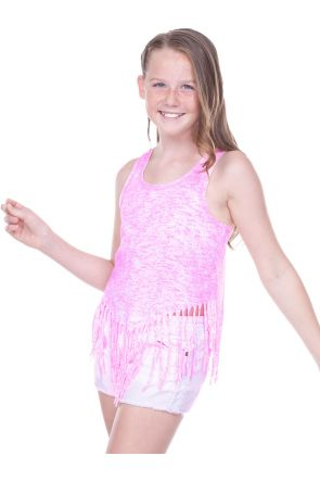 Girls 7-16  Static Jersey Print Scoop Neck Raw Edge V Fringe Tank