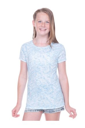 Girls 7-16  Static Jersey Print Crew Neck Short Sleeve