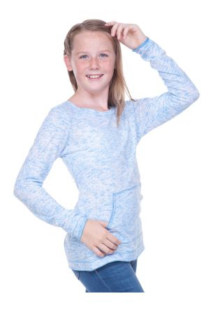 Girls 7-16  Static Jersey Print Cntrst Raw Edge Long Sleeve w. Pouch