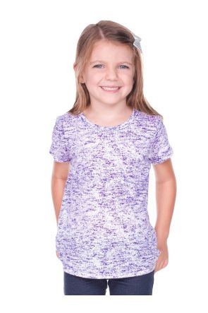 Girls 3-6X  Static Jersey Print Crew Neck Short Sleeve