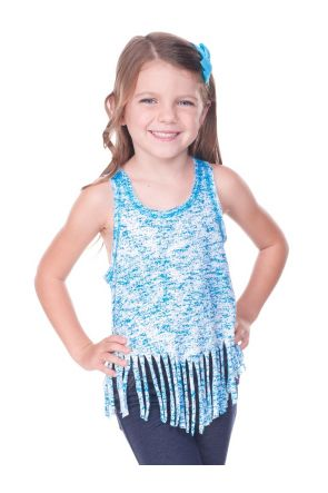 Girls 3-6X  Static Jersey Print Scoop Neck Raw Edge V Fringe Tank