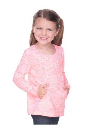 Girls 3-6X  Static Jersey Print Contrast Raw Edge Long Sleeve With Pouch