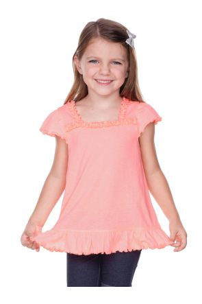 Girls 3-6X  Sheer Jersey Ruffle U Neck Flutter Sleeve Top