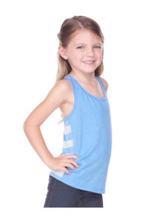 Girls 3-6X Sheer Jersey Cntrst Striped Back Knot-Back Tank