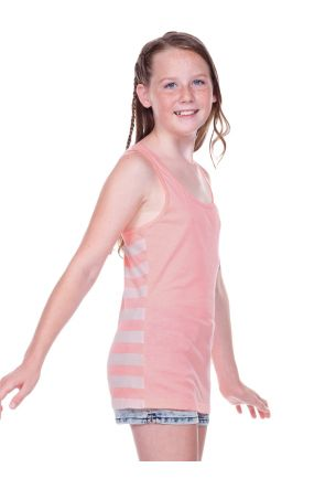 Girls 7-16 Sheer Jersey Contrast Striped Back Knot-Back Tank