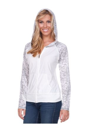 Women 2XL Static Print Cntrst Raglan Long Sleeve Zip Hoodie W. Pouch