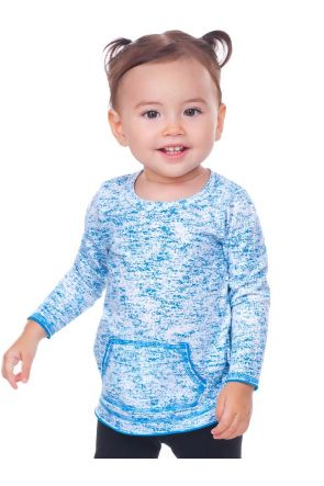 Infants Static Jersey Print Cntrst Raw Edge Long Sleeve With Pouch